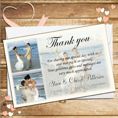 10 Personalised Wedding Thank you Photo cards N35